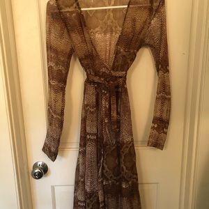 Snake python print wrap dress or duster S